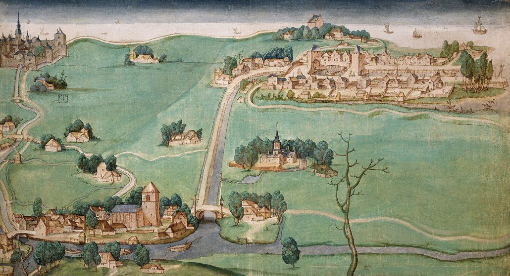 Kaart Delfshaven, Overschie en Schiebroek aan de Rotterdamsche- and Delftse Schie uit 1512